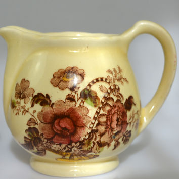 Vintage Hand Painted Roses Brown English Transferware Pitcher Creamer Charlotte