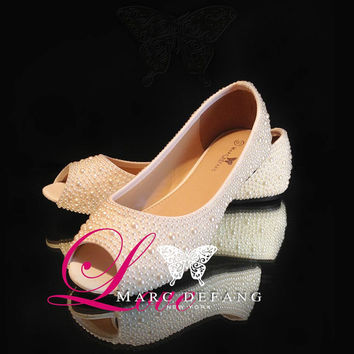 Bridal Open toe Ivory Pearls essential Luxury Flats