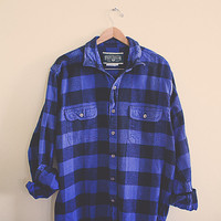 Vintage Buffalo Plaid Flannel Blue Black  Men's Hipster Thick Cozy Northwest Seattle Portland Style Preppy Size Men's XL Extra Large Tall