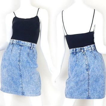 80s Vintage High Waisted Acid Wash Denim Mini Skirt - Size 4 - Women's Zena Light Blue Short Jean Skirt - 26 Waist