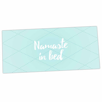 "KESS Original ""Namaste In Bed Teal"" Blue White Desk Mat"