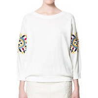 SWEATER WITH EMBROIDERED SLEEVES - Woman - New this week - ZARA United States