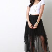 Mesh Double Layered Tulle Skirt