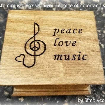 music box engraved with a treble clef and peace love music on the top, your personalized message on bottom, custom gift by Simplycoolgifts