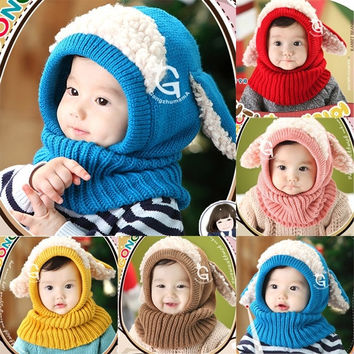 Toddler Kids Girls Boys Winter Warm Woolen Coif Hood Scarf Scarves Caps Hats = 1946664964