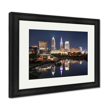 Framed Print, Cleveland City Skyline At Night Across The Cuyahoga River