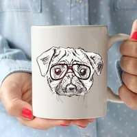 Pug Hipster Coffee Lovers Gift Mug Coffee Mug Office Gift For Kids Cup Kitchen Decor Hipster Animal Hipster Mug Coffee Lover Gift Tea Cup