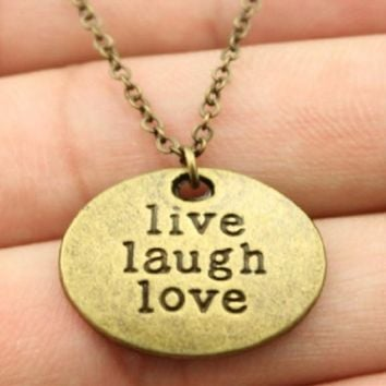 Antique Bronze Color Live Laugh Love/Live Your Dream Pendant Necklace