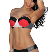 Color Block Strapless Push-up ikini