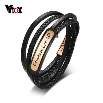 Vnox Free Engraving Men's Leather Bracelet Customized ID Multi-Layer Braided Link Chain Bracelet for Male Jewelry 7.9 Inch