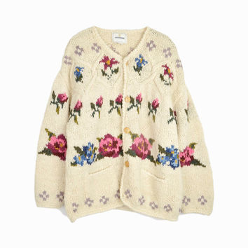 Vintage 90s Handknitted Floral Granny Cardigan by Express / 90s Wool Sweater - women's medium/large