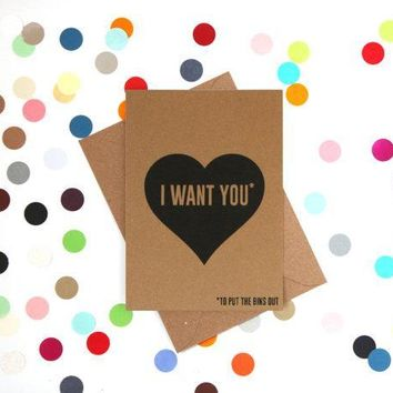 I Want You Funny Anniversary Card Valentines Day Card Love Card FREE SHIPPING