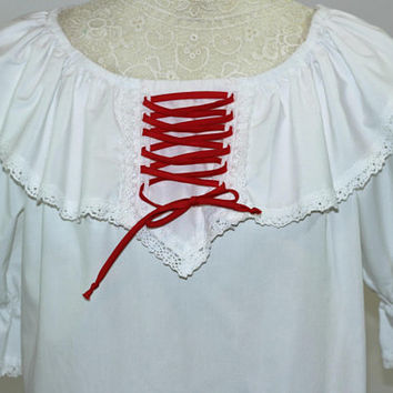 Vintage Square Dance Blouse Ladies Sm White with Red Lace Up Tie Bodice | Square Dance Clothes | Malco Modes | Ruffle Neck Sq Dance Blouse