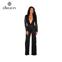 Lace Jumpsuit Long Sleeve Autumn Rompers Women Jumpsuit Black Sexy Deep V Neck Outfits Elegant Womens Party Club Wear