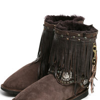 Kettle Black Fringe Rocker Boots in Chocolate
