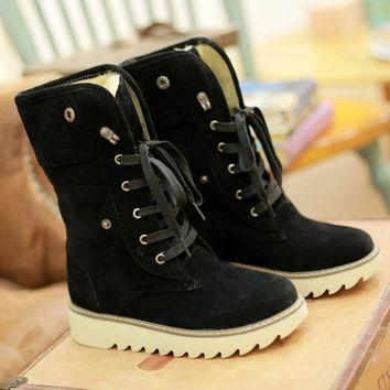 Christmas Sales Women Snow Boots Gladiator Lace Up Skidproof Rubber Sole Platform Winter Fur Shoes Warm Half Knee High Motorcycle Boots Big Size = 1931800580