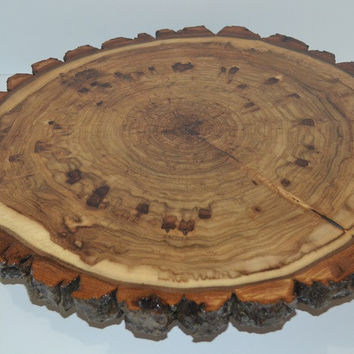 Wood Slice with Bark Rustic Lazy Susan