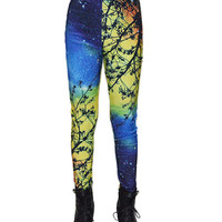 Yellow Starry Night Print Leggings
