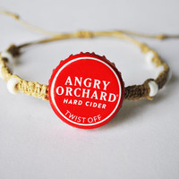 Angry Orchard bottle cap hemp bracelet, recycled bottle cap bracelet, apple cider, hard cider, red unique bracelet