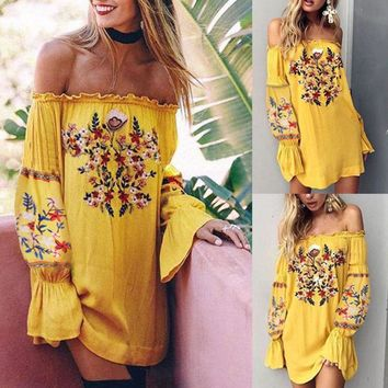 NEW Vintage Bohemian Floral Embroidered Off Shoulder Bell Sleeve BOHO Mini Dress