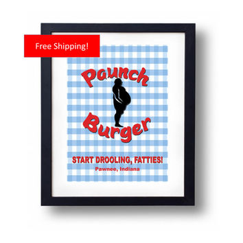 Paunch Burger Parks and Recreation Sign Ron Swanson Breakfast Poster Style Funny Gift Print