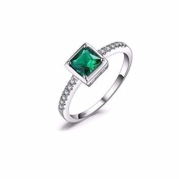Square 0.5ct Created Green Emerald, 925 Sterling Silver Ring