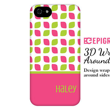 Personalized iPhone 6 case, hot pink and lime iPhone 6 plus case, iPhone 5c case, iPhone 5s case, iPhone 4s phone cases, Galaxy S6 case