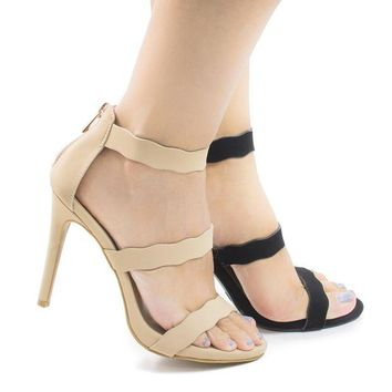 LMFIW1 Sugarlove67M Nude By Anne Michelle Open Toe Wavy Strappy Stiletto High Heel Sandals