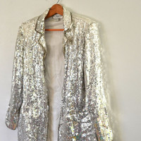 Vintage 80s Sequin Jacket Silver Sequin Jacket Cocktail Long Jacket Evening Wear Clubbing Rave New Years Eve Party Outfit Dance Costume