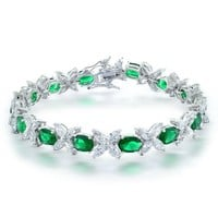 Bling Jewelry Simulated Emerald Flower CZ Marquise Oval Tennis Bracelet Rhodium Plated