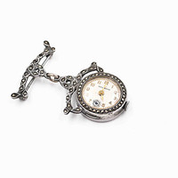 Vintage Art Deco Sterling Silver Ladies Swiss Pin Watch, Hall Watch, Swiss Solow Movement, Brooch Watch, Marcasite, Superb!  #c475