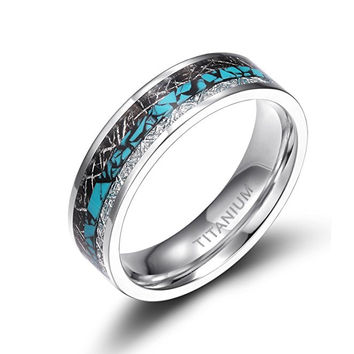 8mm Titanium Rings Turquoise Imitated Meteorite Inlaid