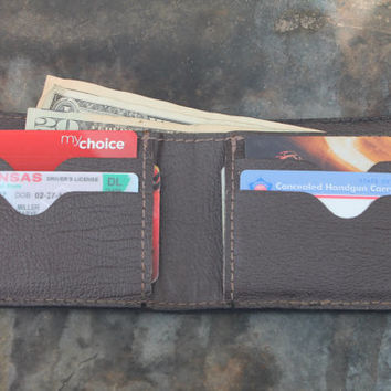EAGLE Wallet, Classic Bifold style, Handcrafted Genuine Leather Wallet, Made in the USA, Initials or Name Engraved Free!