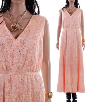 70's Peach Lace Maxi Dress Long Sleeveless Boho Goddess Gown Pastel Summer Chic 1970's Vintage Clothing Womens Size Medium Large