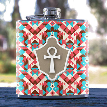 Egyptian Key/Ancient Egypt, Best Hip Flask 6oz Aztec Pattern Style, for Gifts, Weddings, Men/Women, Bridesmaid, Groomsmen, Sorority & more!
