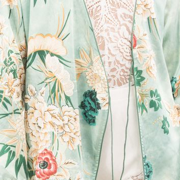 Makers of Dreams Mint Green Longsleeve Floral Kimono