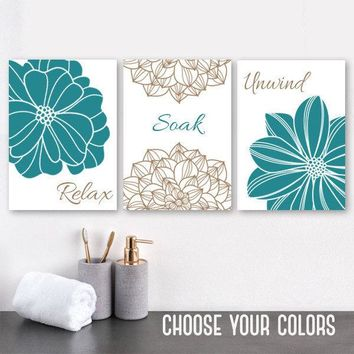 Teal BATHROOM Wall DECOR, Bathroom Canvas or Print Teal Flower Bathroom Wall Art, Teal Brown Bathroom Relax Soak Unwind Quote, Set of 3