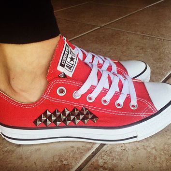 Custom Studded Red Converse All Star Chuck Taylors - ALL COLORS & SIZES! Custom Red Chucks; Wedding Converse; Festival Shoes; Trendy Shoes