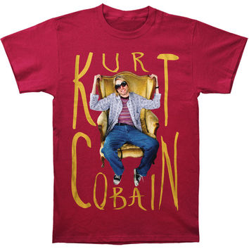 Men's Kurt Cobain Sitting Chair Photo Mens T T-shirt Cardinal