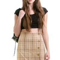 Vintage 1990s Wildgrass Button Front Mini Skirt - L