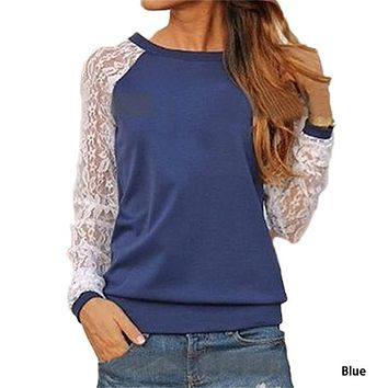 Rogi Fashion Lace Crochet Women Blouses Casual Round Neck Long Sleeve Blouse Shirt Patchwrok Hoodies Sweatshirts Tunic Blusas