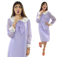 Vintage 60s Mod Purple Peter Pan Collar Babydoll Shift Dress