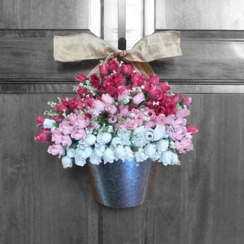 spring wreath summer wreaths tulips wreath Mother's day gift front door decorations flowers vases wreaths