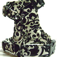 Small dog Harness...Midnight Flowers Size X-Small....fits 7-10 lbs