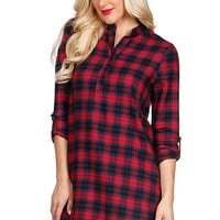 Casual Plaid Flannel Dress - Red and Navy