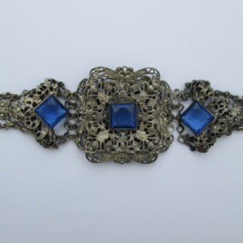 Ornate Antique Silver Filigree and Faux Sapphire Bracelet
