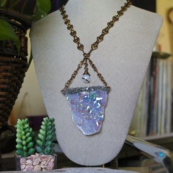 Rainbow & Angel Aura Quartz Necklace with our SIGNATURE HANDMADE Chain, Opal Aura Crystal Jewelry, Gypsy Festival Fashion, Statement Piece