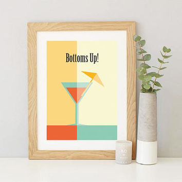 Martini Poster, Large Printable Poster, Restaurant Poster, Modern Wall Art, Food Art, Dining Room Wall Art, Colorful Poster, Bottoms Up!