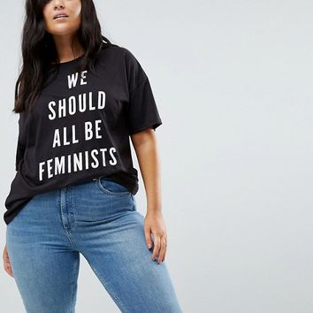 Boohoo Plus We Should All Be Feminists T-Shirt at asos.com