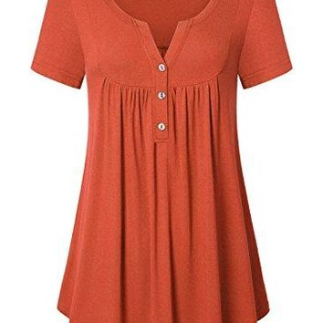 Ca Kra Womens Short Sleeve Henley V Neck Button up Pleated Tunic Top Casual Blouse Shirts